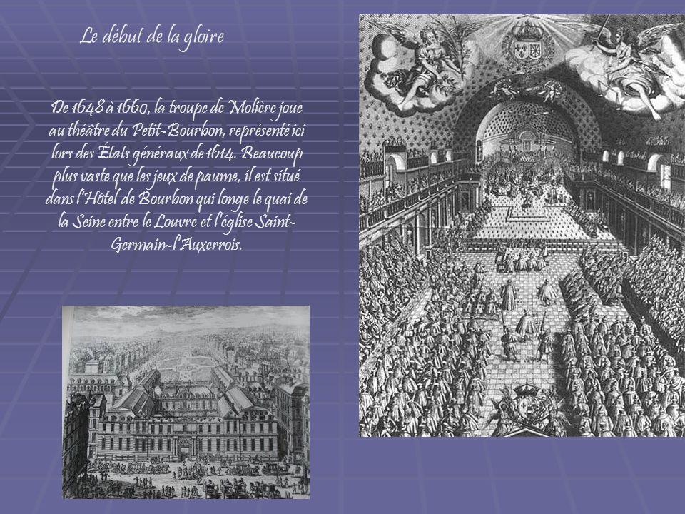 De 1648 à 1660, la troupe de Molière joue au théâtre du Petit-Bourbon, représenté ici lors des États généraux de 1614. Beaucoup plus vaste que les jeu