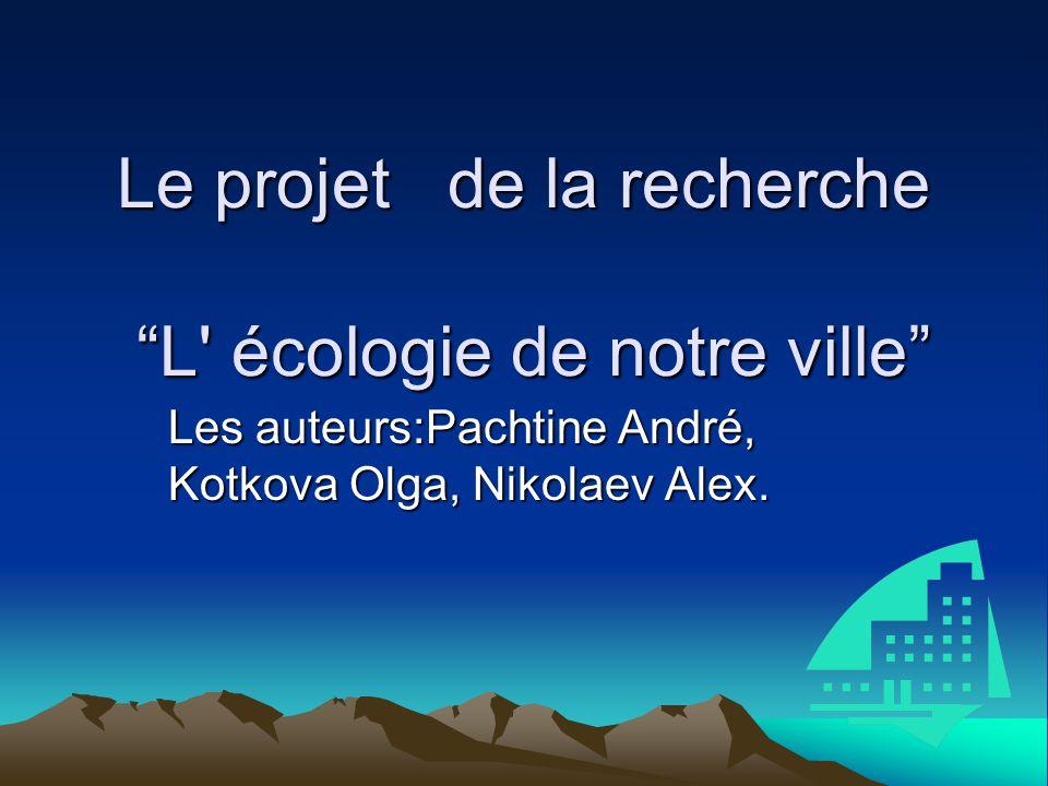 Le projet de la recherche L écologie de notre ville Les auteurs:Pachtine André, Kotkova Olga, Nikolaev Alex.