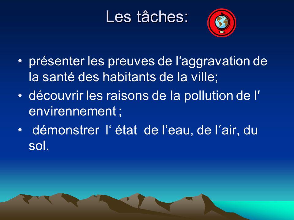 Les tâches: présenter les preuves de laggravation de la santé des habitants de la ville; découvrir les raisons de la pollution de l envirennement ; démonstrer l état de leau, de l air, du sol.