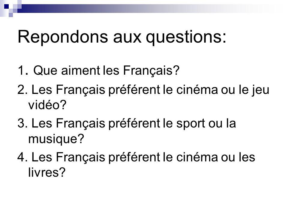 Repondons aux questions: 1. Que aiment les Français? 2. Les Français préférent le cinéma ou le jeu vidéo? 3. Les Français préférent le sport ou la mus