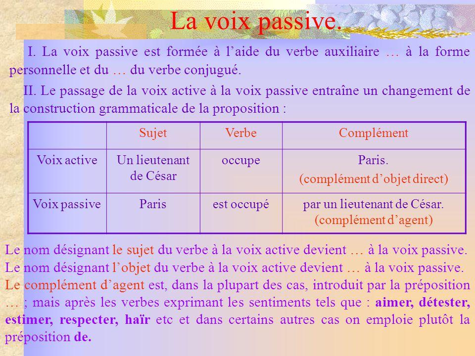 La voix passive. I. La voix passive est formée à laide du verbe auxiliaire … à la forme personnelle et du … du verbe conjugué. II. Le passage de la vo