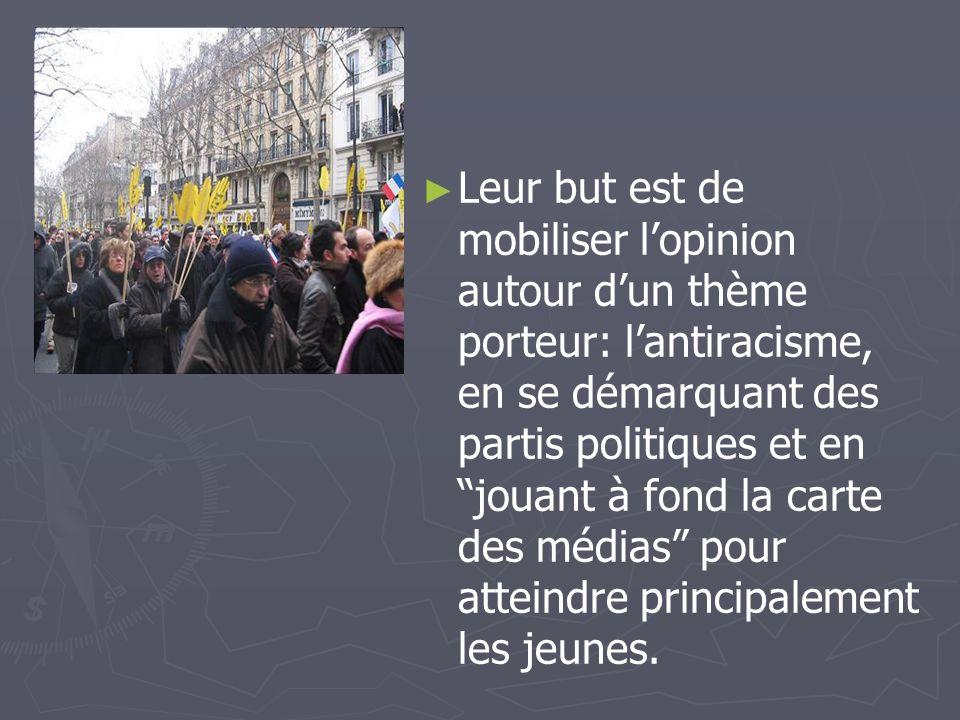 Leur but est de mobiliser lopinion autour dun thème porteur: lantiracisme, en se démarquant des partis politiques et en jouant à fond la carte des méd