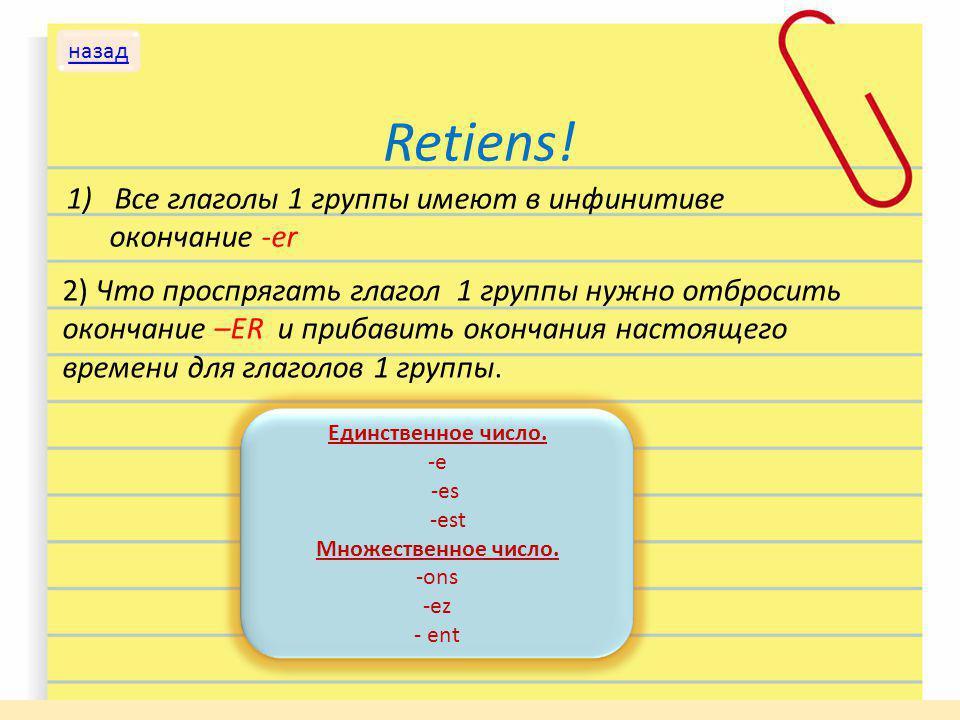 Retiens! 1)Все глаголы 1 группы имеют в инфинитиве окончание -er 2) Что проспрягать глагол 1 группы нужно отбросить окончание –ER и прибавить окончани