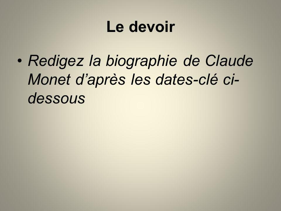 Le devoir Redigez la biographie de Claude Monet daprès les dates-clé ci- dessous