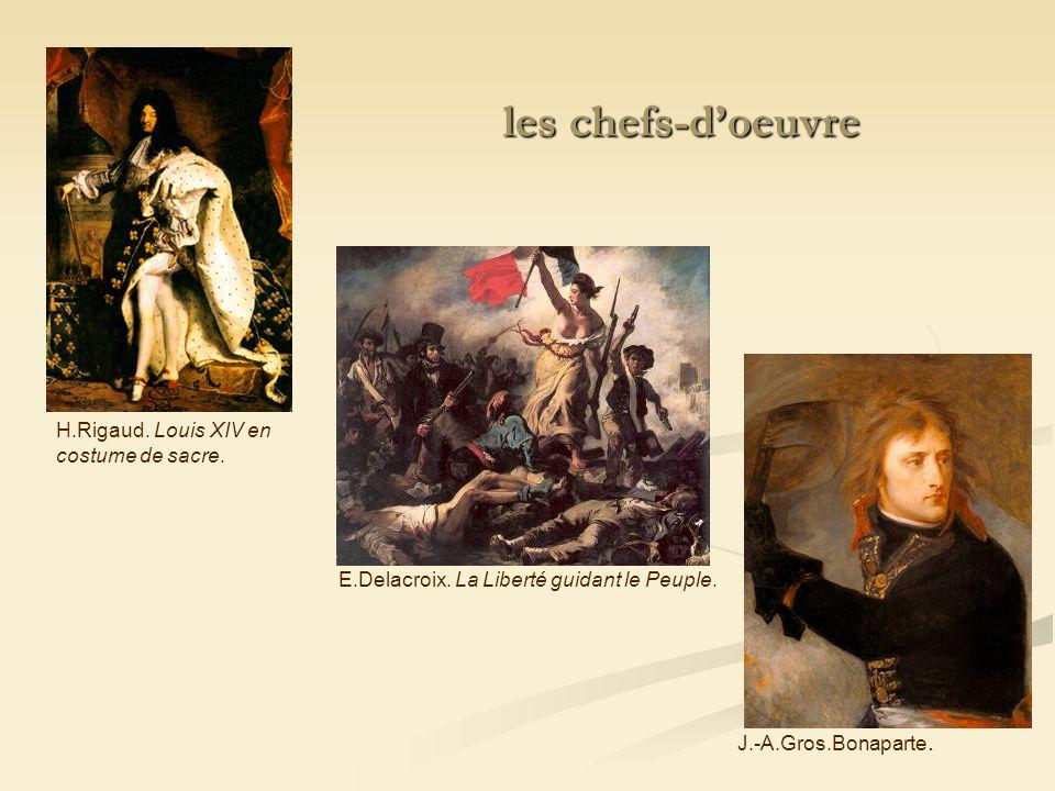 H.Rigaud. Louis XIV en costume de sacre. E.Delacroix. La Liberté guidant le Peuple. J.-A.Gros.Bonaparte. les chefs-doeuvre