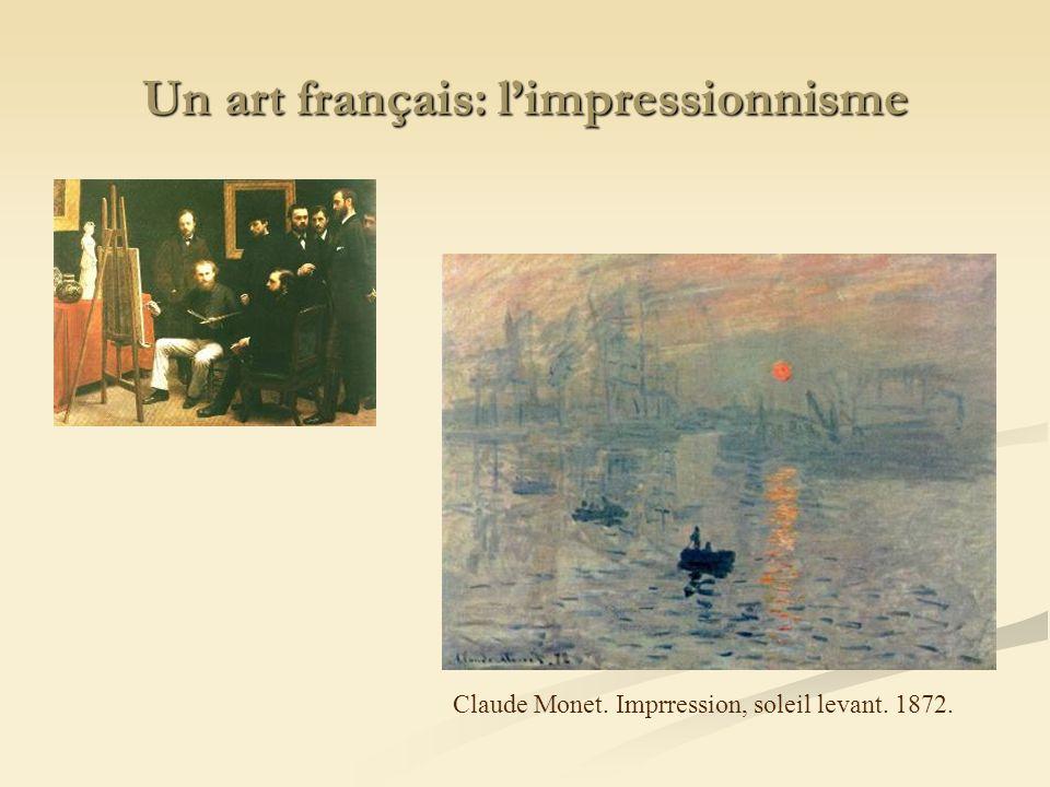 Un art français: limpressionnisme Claude Monet. Imprression, soleil levant. 1872.