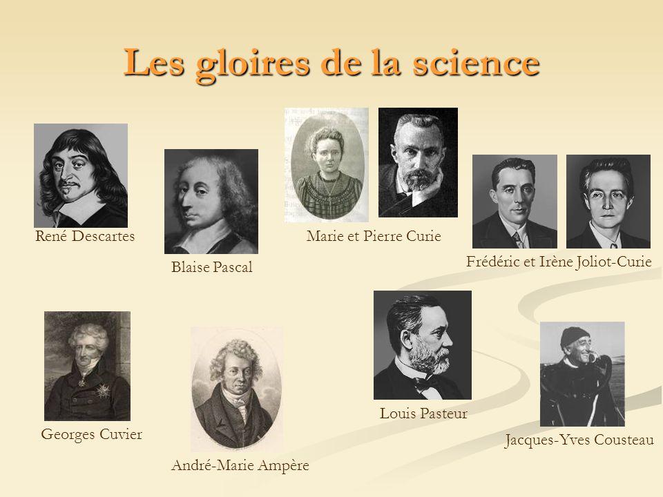 Les gloires de la science Louis Pasteur Blaise Pascal Marie et Pierre CurieRené Descartes Georges Cuvier Frédéric et Irène Joliot-Curie Jacques-Yves C