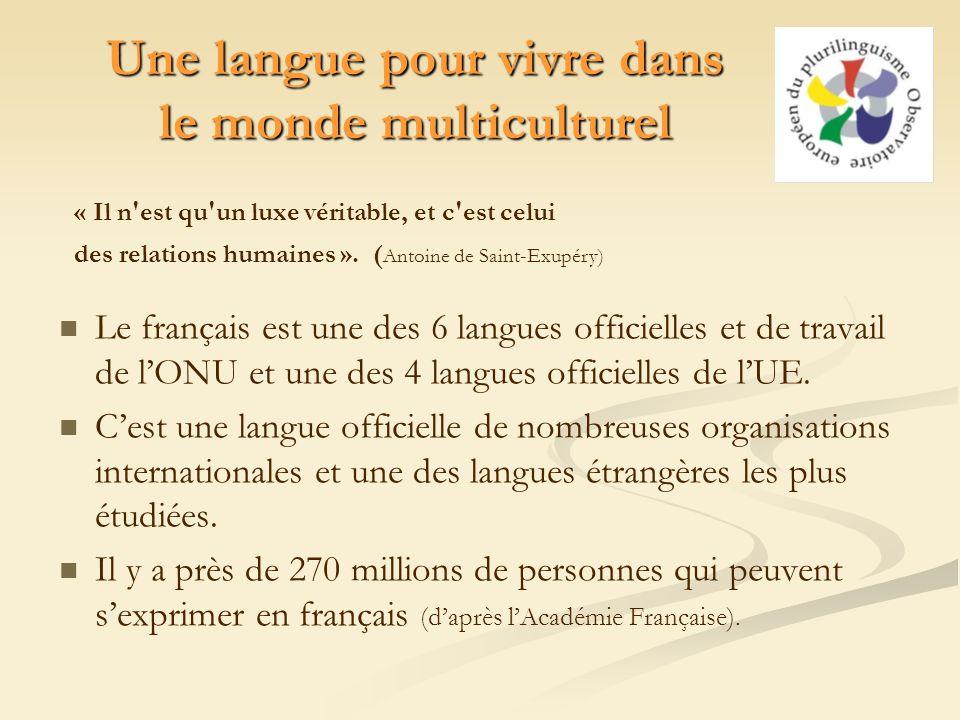 Une langue pour vivre dans le monde multiculturel Le français est une des 6 langues officielles et de travail de lONU et une des 4 langues officielles