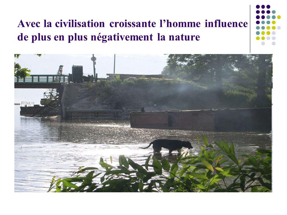 Avec la civilisation croissante lhomme influence de plus en plus négativement la nature