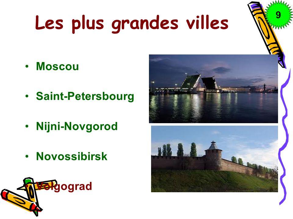 Les plus grandes villes Moscou Saint-Petersbourg Nijni-Novgorod Novossibirsk Volgograd 9