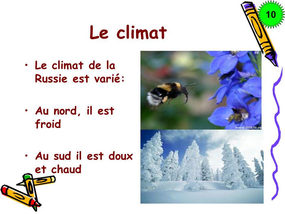 Le climat Le climat de la Russie est varié: Au nord, il est froid Au sud il est doux et chaud 10