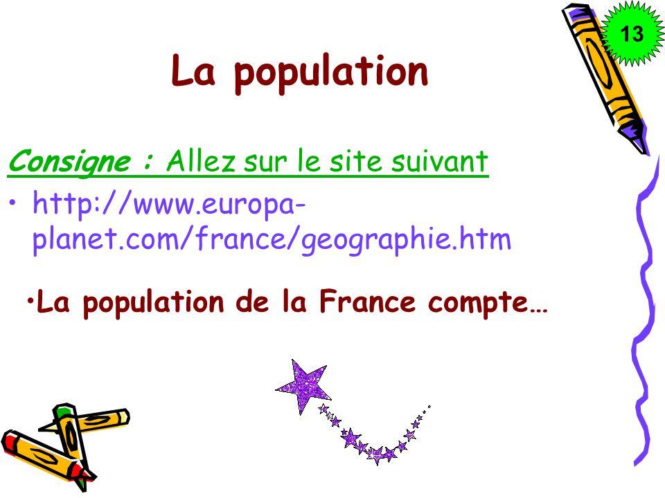 La population Consigne : Allez sur le site suivant http://www.europa- planet.com/france/geographie.htm La population de la France compte… 1313