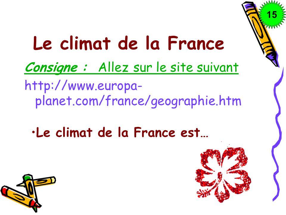 Le climat de la France Consigne : Allez sur le site suivant http://www.europa- planet.com/france/geographie.htm Le climat de la France est… 1515