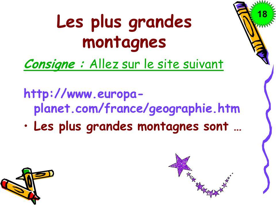 Les plus grandes montagnes Consigne : Allez sur le site suivant http://www.europa- planet.com/france/geographie.htm Les plus grandes montagnes sont …