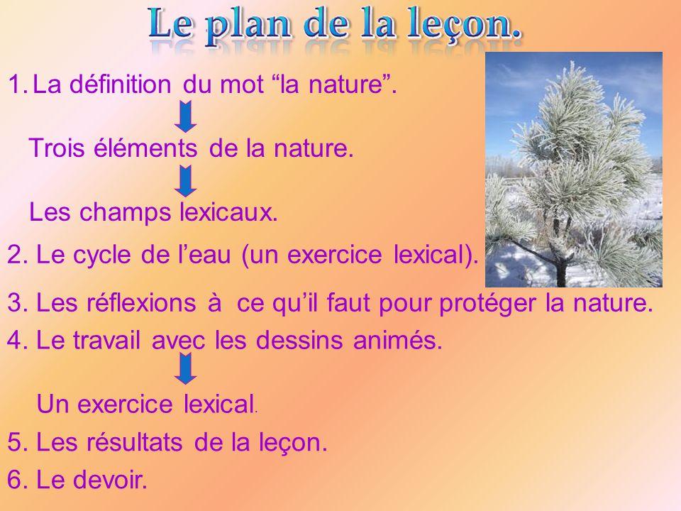 1.La définition du mot la nature. Trois éléments de la nature. Les champs lexicaux. 2. Le cycle de leau (un exercice lexical). 3. Les réflexions à ce