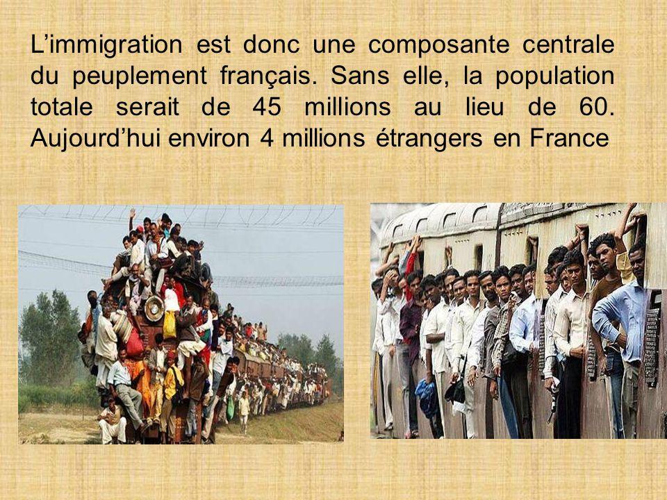 Limmigration est donc une composante centrale du peuplement français.