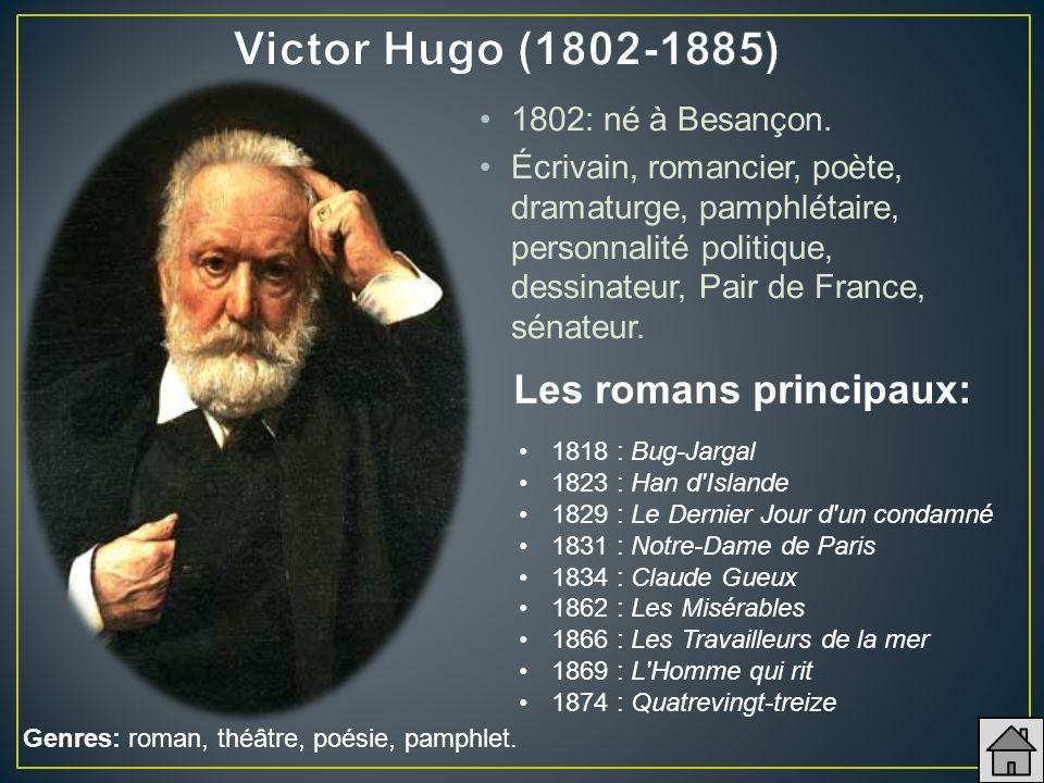 1802: né à Besançon. Écrivain, romancier, poète, dramaturge, pamphlétaire, personnalité politique, dessinateur, Pair de France, sénateur. 1818 : Bug-J
