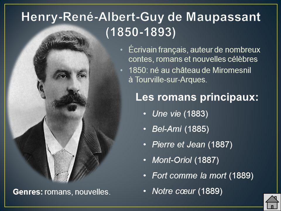 Écrivain français, auteur de nombreux contes, romans et nouvelles célèbres 1850: né au château de Miromesnil à Tourville-sur-Arques. Une vie (1883) Be