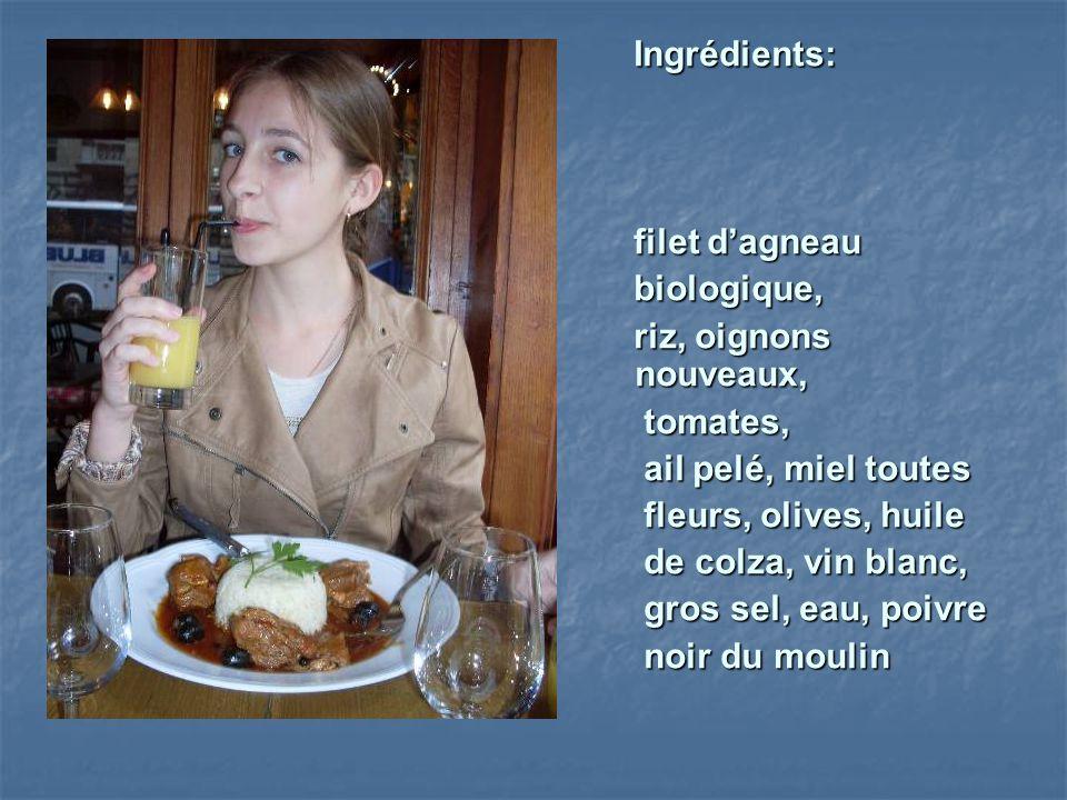 Ingrédients: Ingrédients: filet dagneau filet dagneau biologique, biologique, riz, oignons nouveaux, riz, oignons nouveaux, tomates, tomates, ail pelé