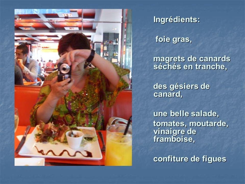 Ingrédients: foie gras, foie gras, magrets de canards séchés en tranche, magrets de canards séchés en tranche, des gésiers de canard, des gésiers de c