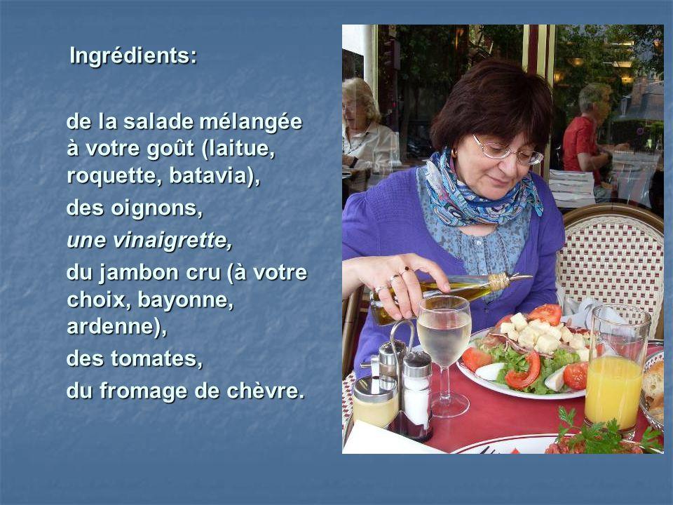 Ingrédients: Ingrédients: de la salade mélangée à votre goût (laitue, roquette, batavia), de la salade mélangée à votre goût (laitue, roquette, batavi