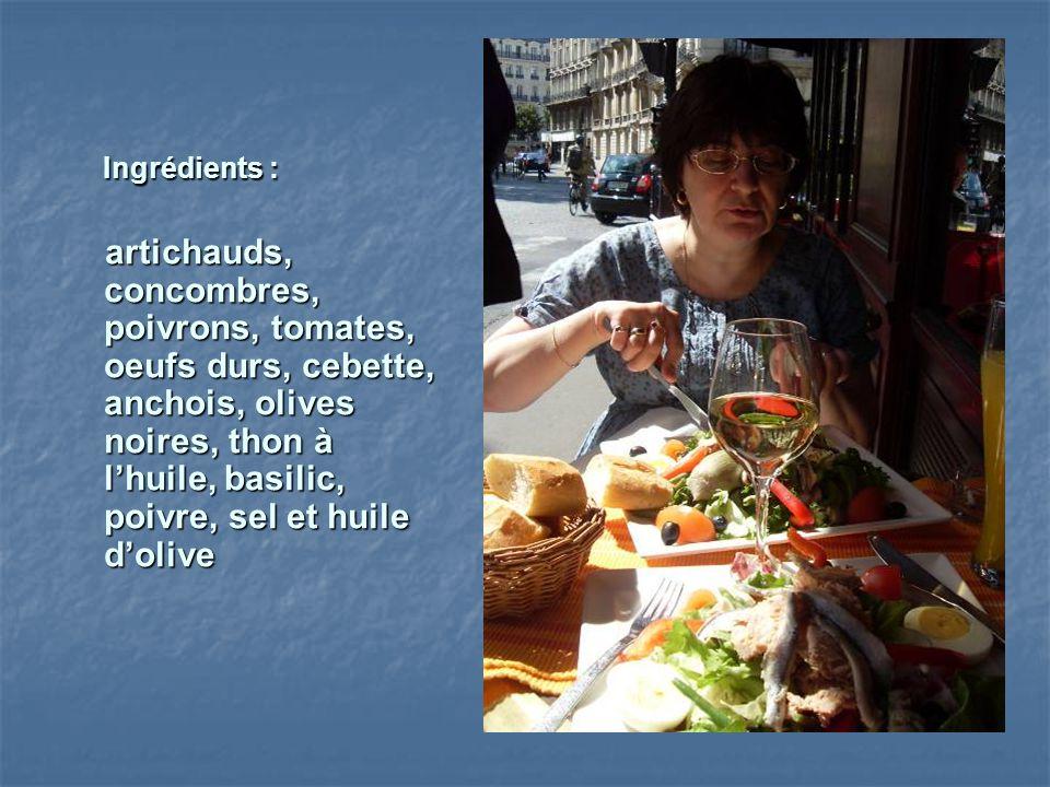 Ingrédients : Ingrédients : artichauds, concombres, poivrons, tomates, oeufs durs, cebette, anchois, olives noires, thon à lhuile, basilic, poivre, se