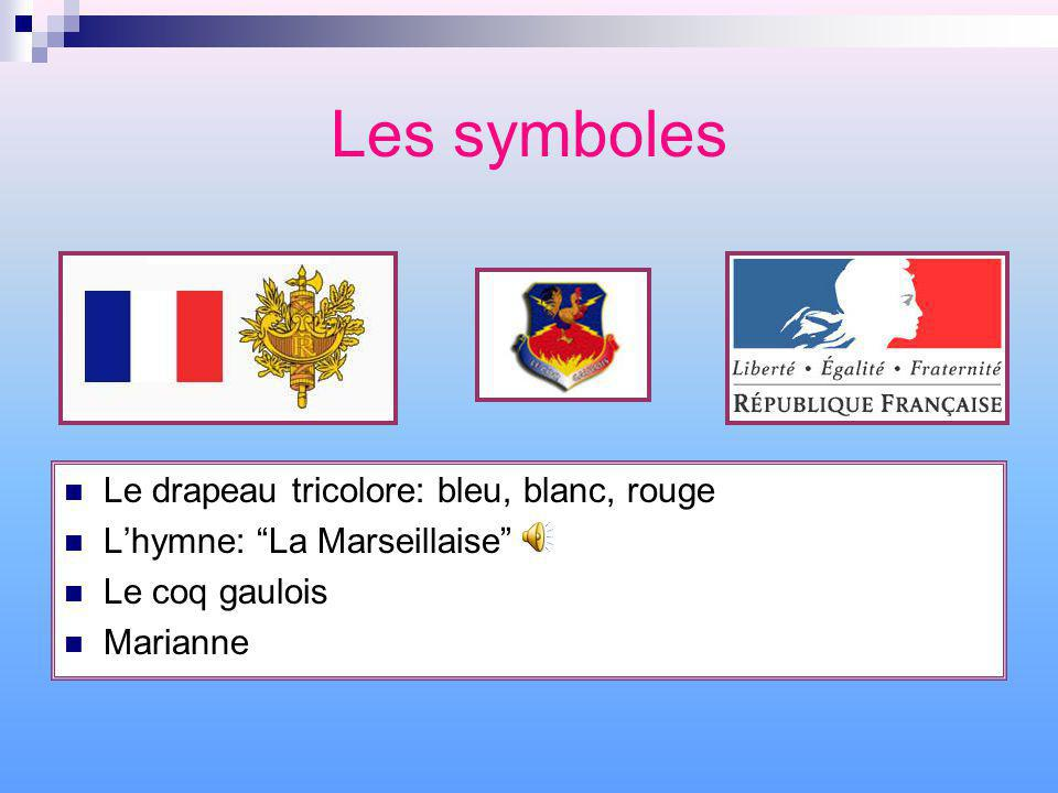 Les symboles Le drapeau tricolore: bleu, blanc, rouge Lhymne: La Marseillaise Le coq gaulois Marianne