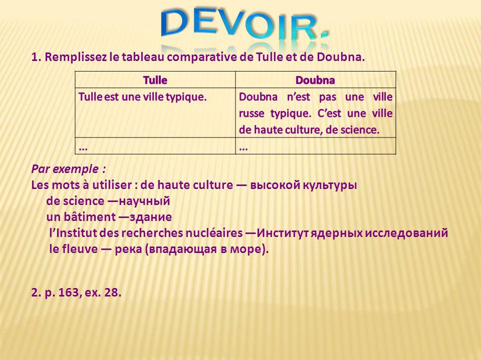 1.Remplissez le tableau comparative de Tulle et de Doubna.