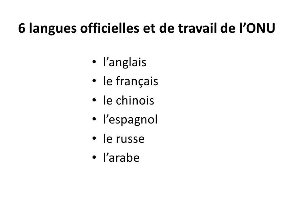 6 langues officielles et de travail de lONU langlais le français le chinois lespagnol le russe larabe