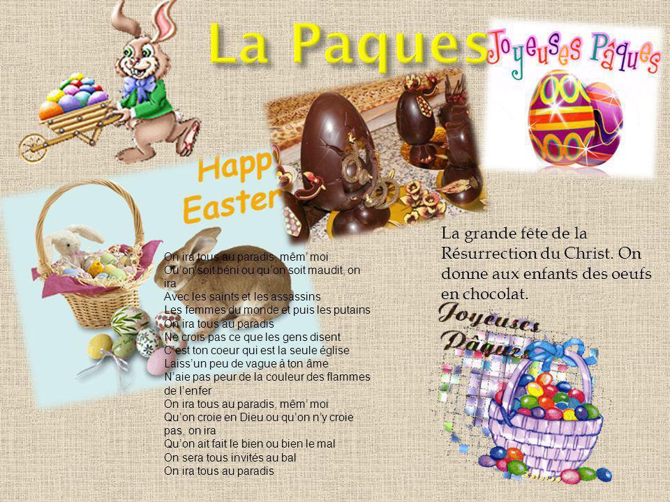 La grande fête de la Résurrection du Christ.On donne aux enfants des oeufs en chocolat.
