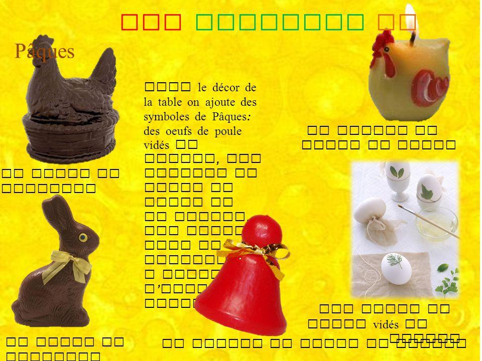 Pour le décor de la table on ajoute des symboles de Pâques : des oeufs de poule vidés et peints, des bougies en forme de poule ou de cloche, des petit
