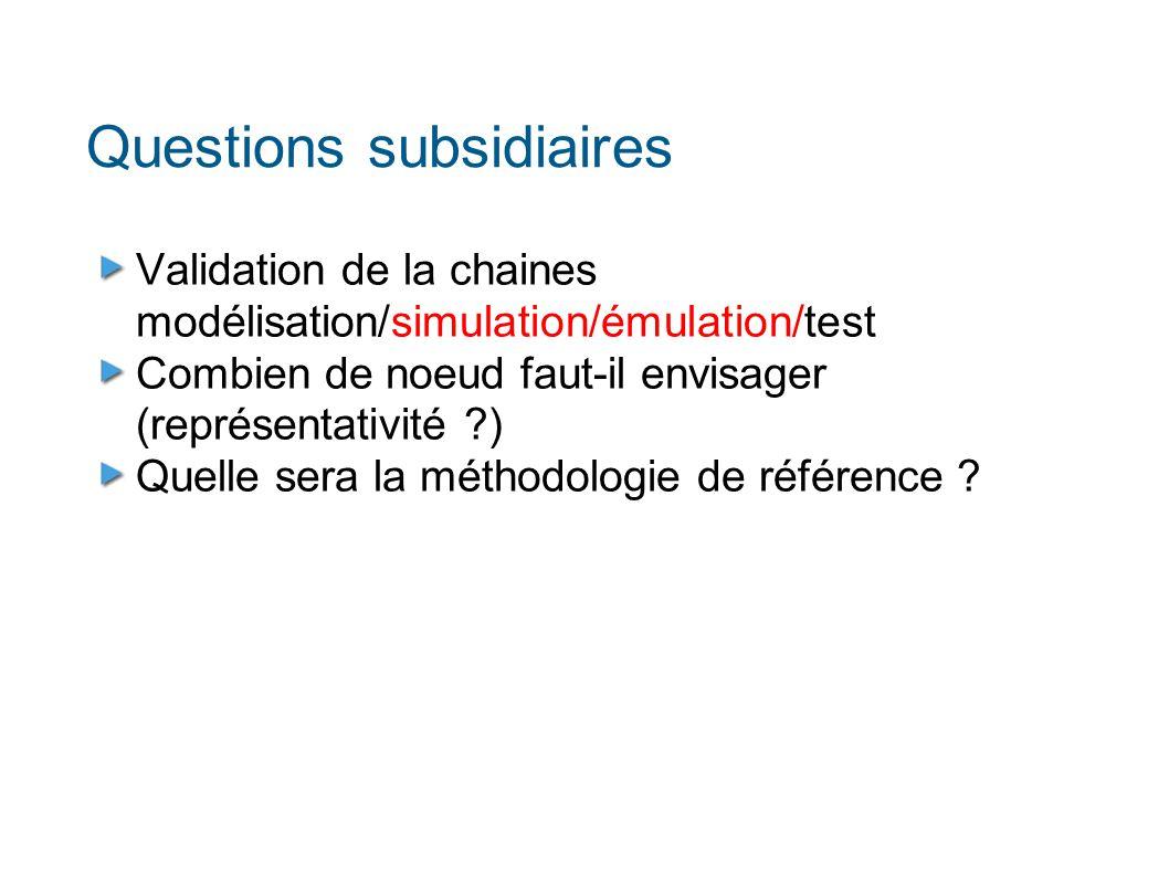 Questions subsidiaires Validation de la chaines modélisation/simulation/émulation/test Combien de noeud faut-il envisager (représentativité ?) Quelle sera la méthodologie de référence ?