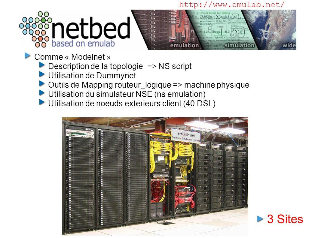 Netbed (Emulab) Comme « Modelnet » Description de la topologie => NS script Utilisation de Dummynet Outils de Mapping routeur_logique => machine physique Utilisation du simulateur NSE (ns emulation) Utilisation de noeuds exterieurs client (40 DSL) http://www.emulab.net/ 3 Sites