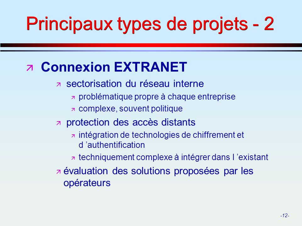 -12- Principaux types de projets - 2 ä Connexion EXTRANET ä sectorisation du réseau interne ä problématique propre à chaque entreprise ä complexe, sou