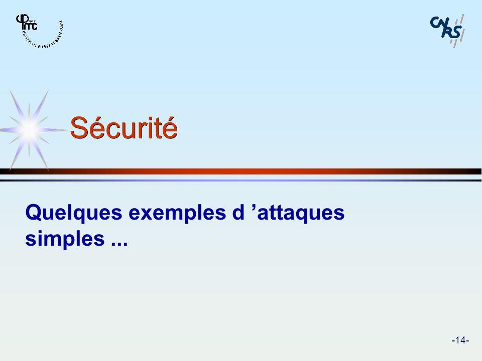 -14- Sécurité Quelques exemples d attaques simples...