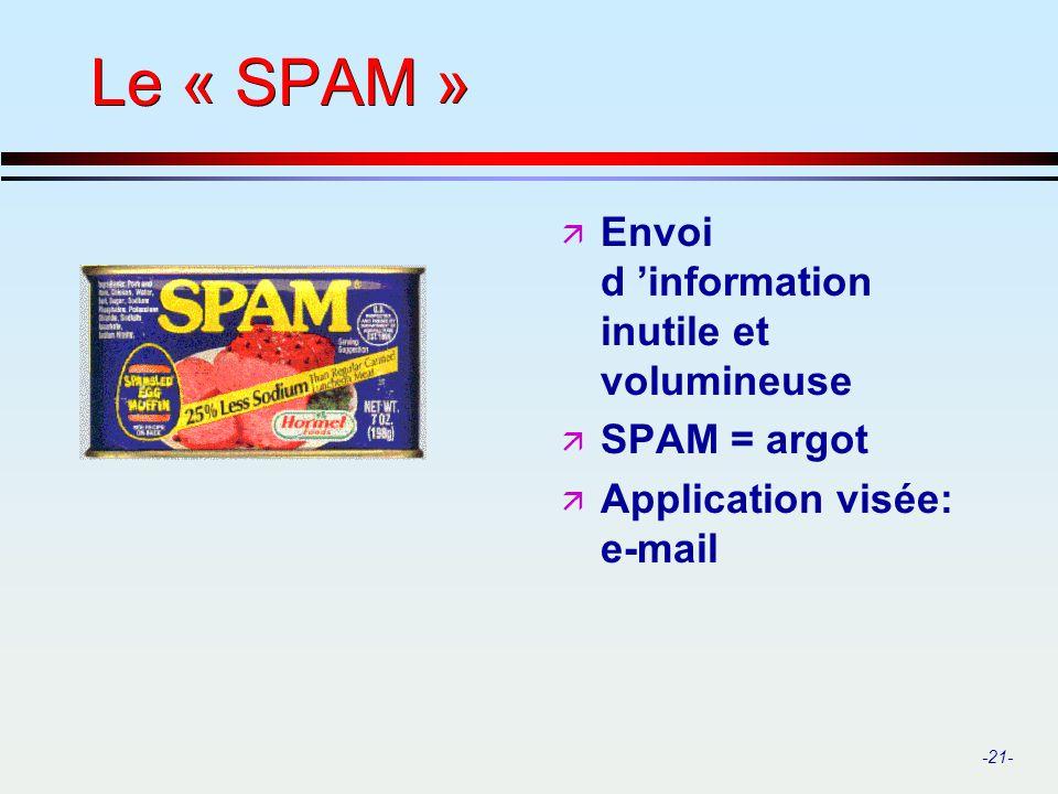 -21- Le « SPAM » ä Envoi d information inutile et volumineuse ä SPAM = argot ä Application visée: e-mail