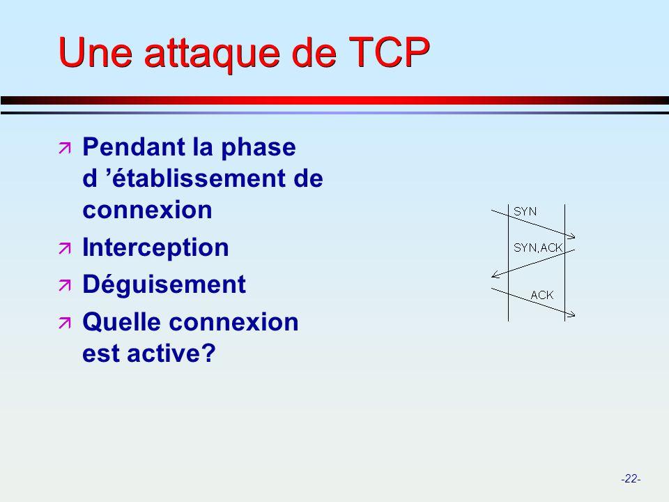 -22- Une attaque de TCP ä Pendant la phase d établissement de connexion ä Interception ä Déguisement ä Quelle connexion est active?