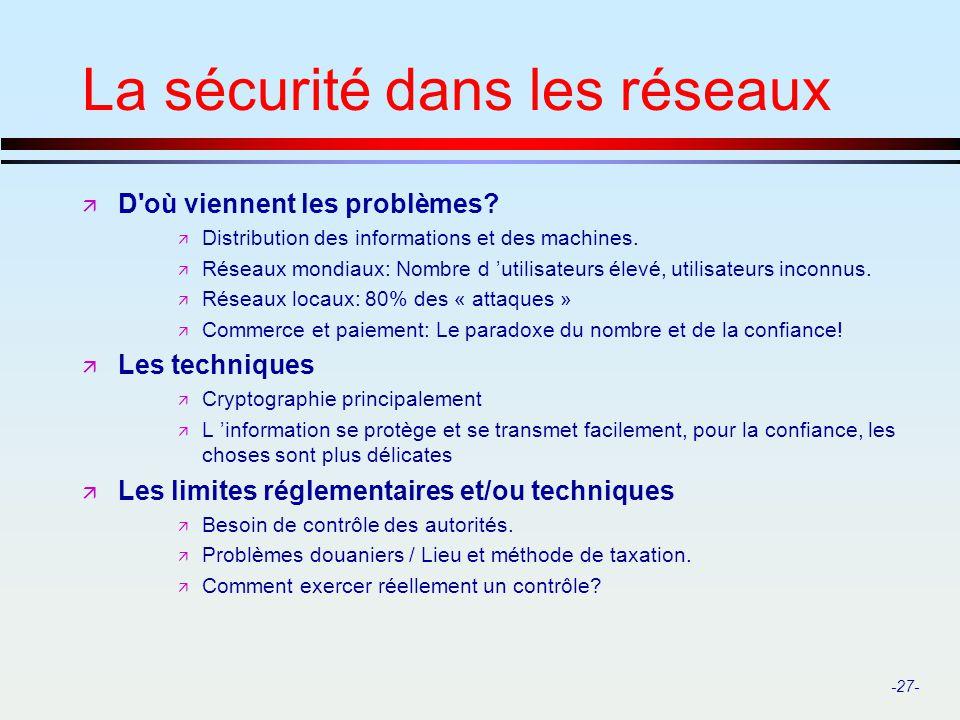 -27- La sécurité dans les réseaux ä D'où viennent les problèmes? ä Distribution des informations et des machines. ä Réseaux mondiaux: Nombre d utilisa