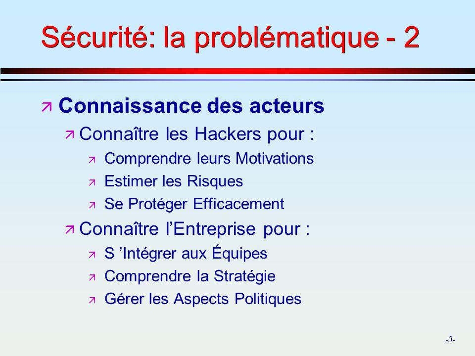 -3- Sécurité: la problématique - 2 ä Connaissance des acteurs ä Connaître les Hackers pour : ä Comprendre leurs Motivations ä Estimer les Risques ä Se