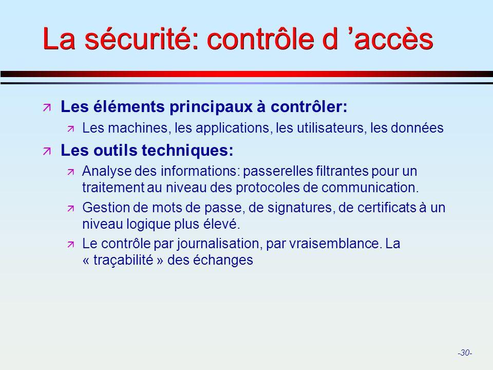 -30- La sécurité: contrôle d accès ä Les éléments principaux à contrôler: ä Les machines, les applications, les utilisateurs, les données ä Les outils