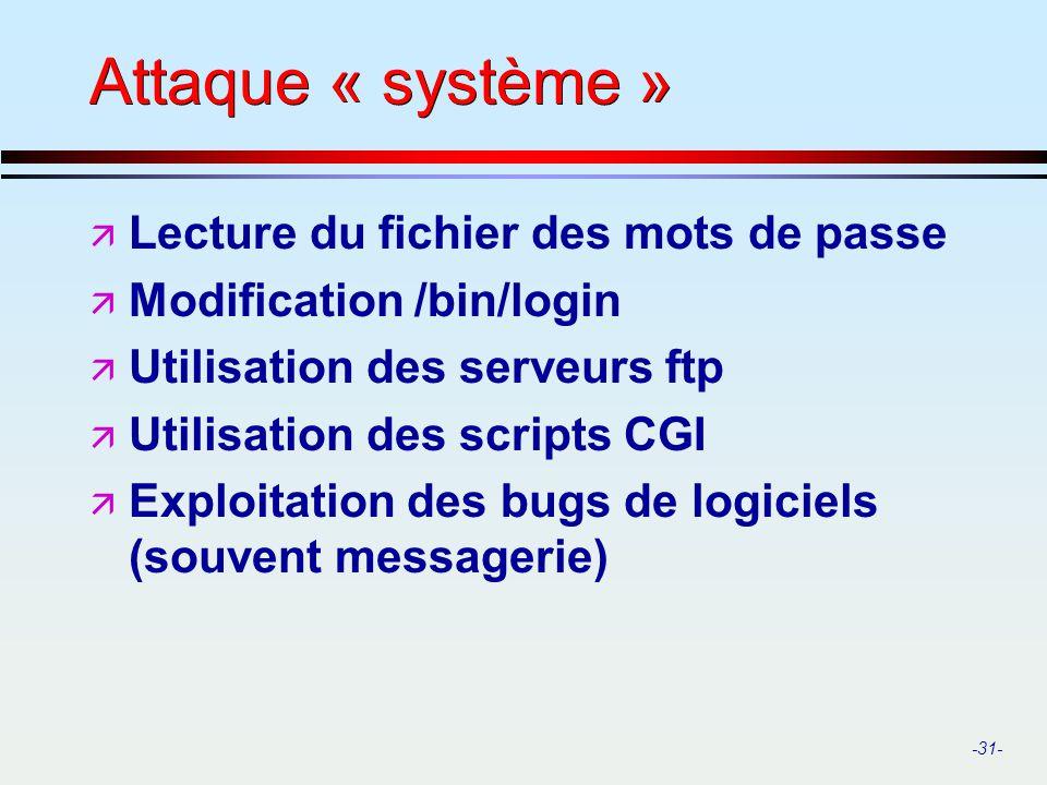 -31- Attaque « système » ä Lecture du fichier des mots de passe ä Modification /bin/login ä Utilisation des serveurs ftp ä Utilisation des scripts CGI
