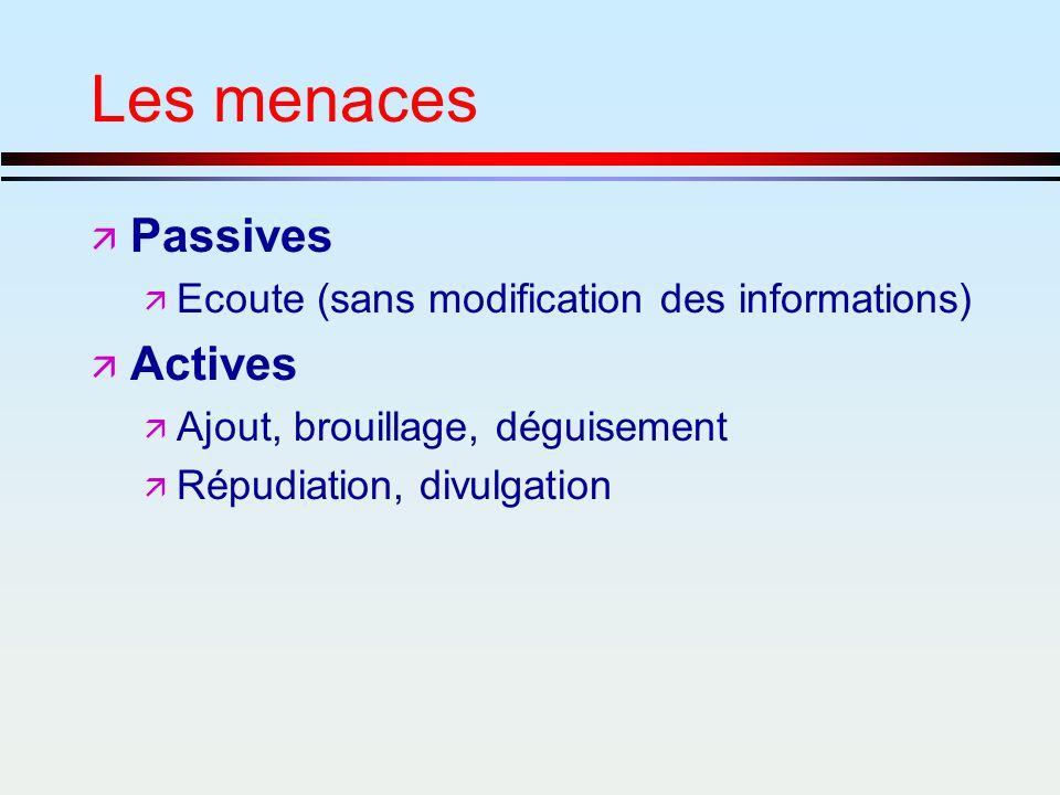 Les menaces ä Passives ä Ecoute (sans modification des informations) ä Actives ä Ajout, brouillage, déguisement ä Répudiation, divulgation