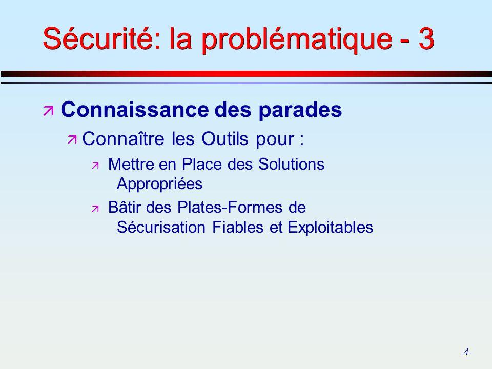 -4- Sécurité: la problématique - 3 ä Connaissance des parades ä Connaître les Outils pour : ä Mettre en Place des Solutions Appropriées ä Bâtir des Pl