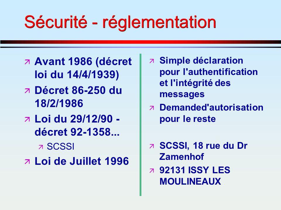 Sécurité - réglementation ä Avant 1986 (décret loi du 14/4/1939) ä Décret 86-250 du 18/2/1986 ä Loi du 29/12/90 - décret 92-1358... ä SCSSI ä Loi de J