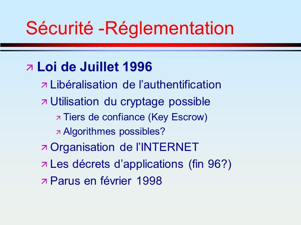 Sécurité -Réglementation ä Loi de Juillet 1996 ä Libéralisation de lauthentification ä Utilisation du cryptage possible ä Tiers de confiance (Key Escr