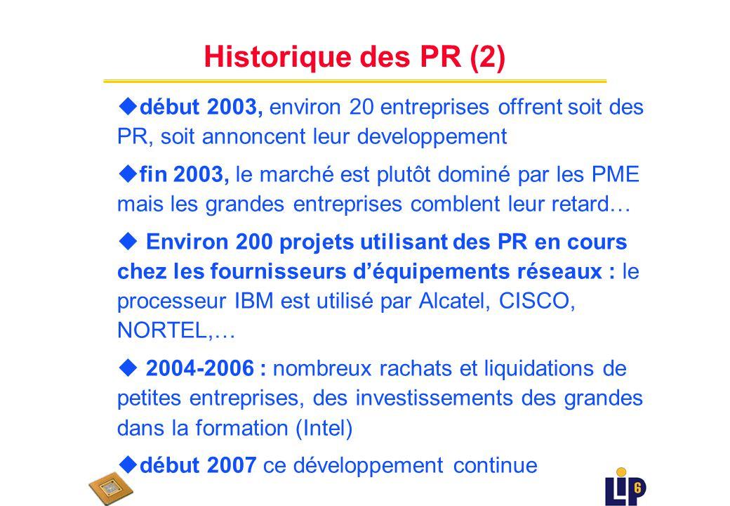 Historique des PR (1) u Septembre 1999 : C-Port (Motorola) annonce le premier processeur réseau (PR) en production pour fin 2001.