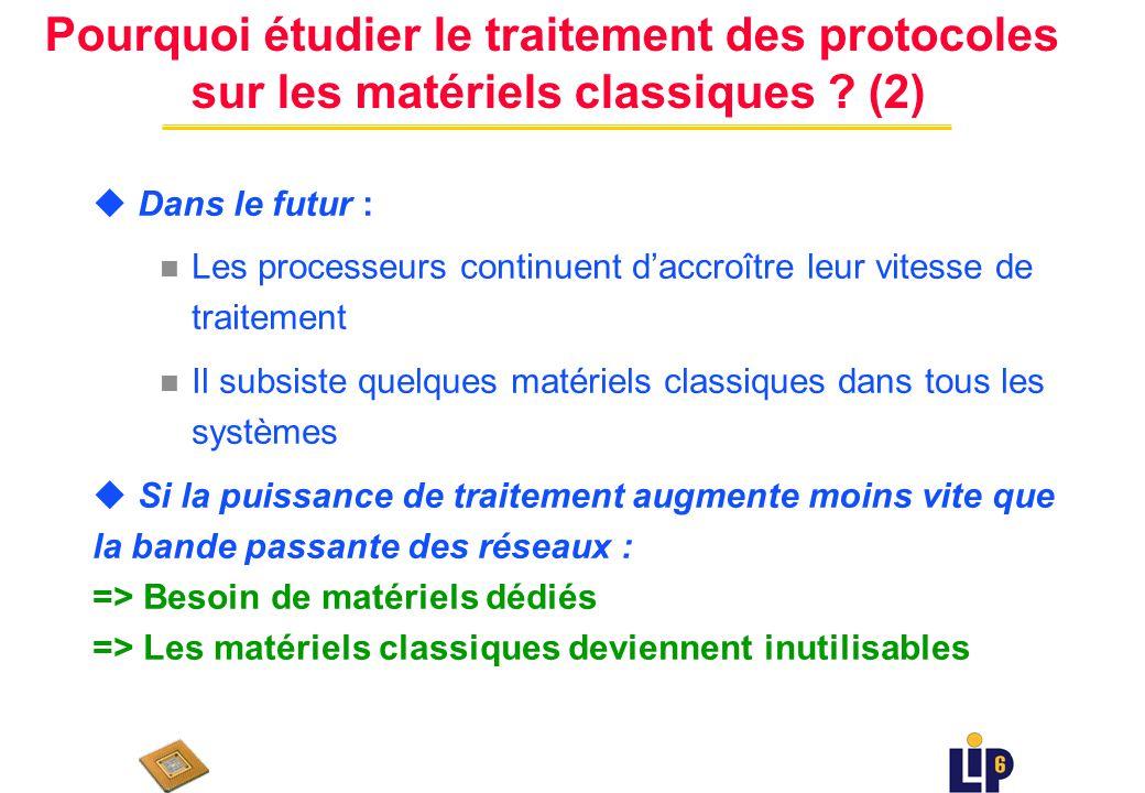 Pourquoi étudier le traitement des protocoles sur les matériels classiques .