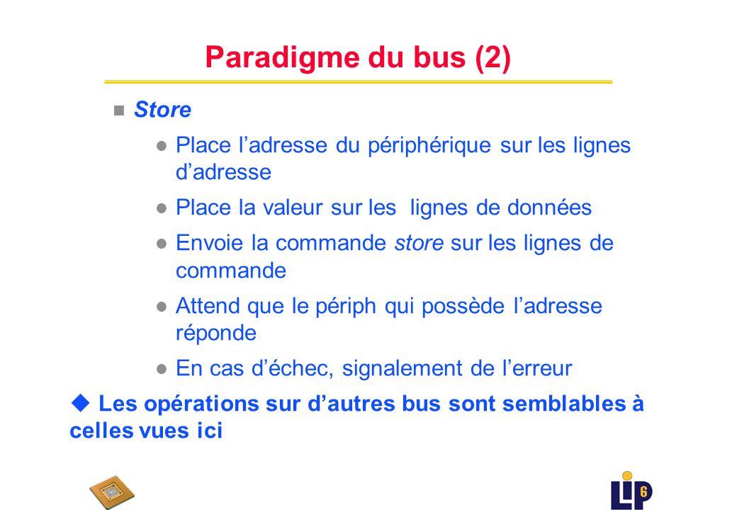 Paradigme du bus (1) u Seulement 2 opérations de base : fetch & store n Fetch l Place ladresse dun périph sur les lignes dadresse l Envoie la commande fetch sur les lignes de commande l Attend que le périph qui possède ladresse réponde l En cas de succès, extraction des valeurs présentes sur les lignes de données