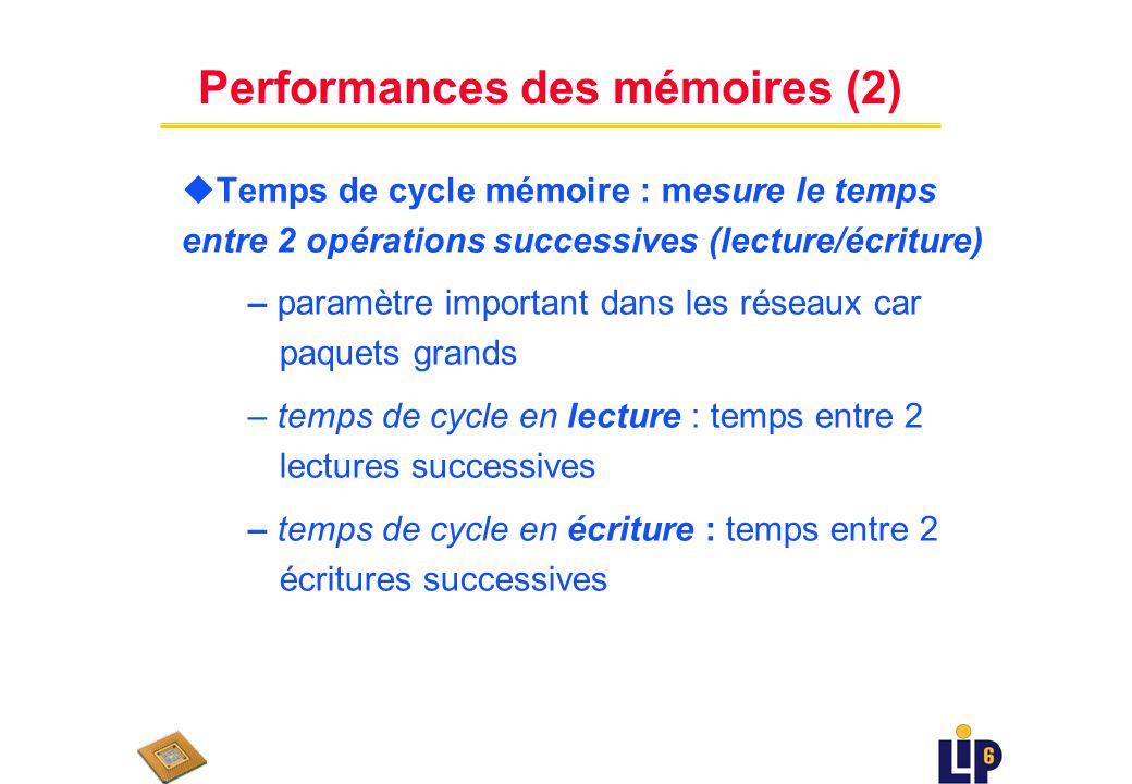 Performances des mémoires (1) uTemps de latence – temps daccès brut en lecture/écriture – SRAM : 2 - 10 ns – DRAM : 50 - 70 ns – mémoires externes : un ordre de grandeur plus grand que les mémoires internes
