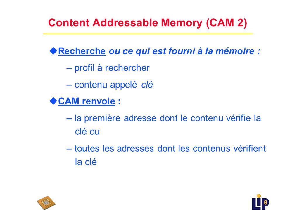 Content Addressable Memory (CAM 1) u Combinaison de plusieurs mécanismes – mémoire à accès aléatoire – recherche dun contenu déterminé u Recherche rapide grâce au parallélisme du matériel
